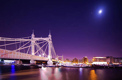 Photograph - Albert Bridge Moon London  by Mariusz Czajkowski