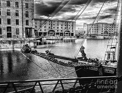 Photograph - Albert Dock View In Greyscale by Joan-Violet Stretch