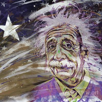 Albert Einstein 10u Art Print by Gull G