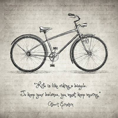 Must Art Drawing - Albert Einstein Bicycle Quote by Taylan Apukovska