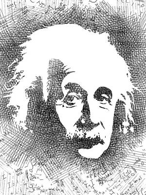 Drawing - Albert Einstein Bw  by Mihaela Pater