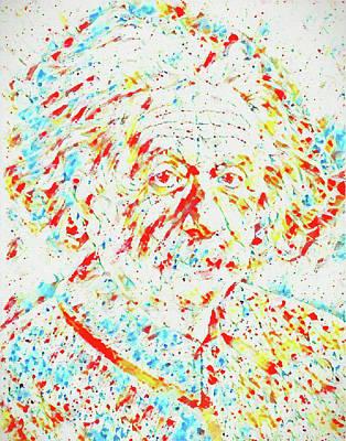 Painting - Albert Einstein Color Splatter by Dan Sproul