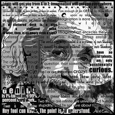 Albert Einstein Cool Motivational Inspirational Independent Quotes 1 Art Print by Diana Van