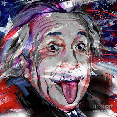 Albert Einstein Flag Usa Art Print by Gull G