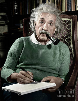 Moustache Photograph - Albert Einstein by Granger