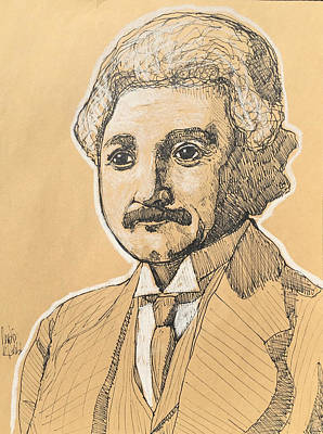 Impact Drawing - Albert Einstein  by Justin Welch