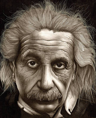 Einstein Drawing - Albert Einstein-millenium Man by Lee Appleby