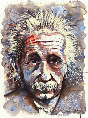 Cosmology Drawing - Albert Einstein by Morne Fourie