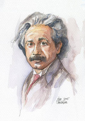 Albert Einstein Art Print by Olga Shvartsur