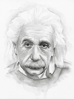 Einstein Painting - Albert Einstein Portrait by Olga Shvartsur