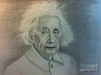 Drawing - Albert Einstein Portrait by Robert Monk
