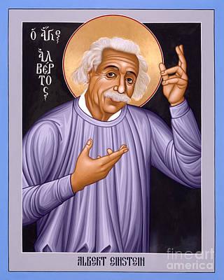 Painting - Albert Einstein  Scientist, Humanitarian, Mystic - Rlabe by Br Robert Lentz OFM