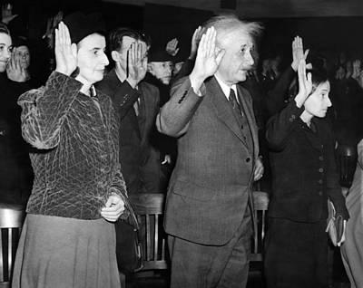 Albert Einstein Taking His Oath Art Print