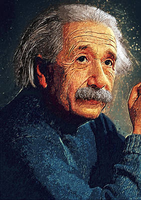 Quantum Science Digital Art - Albert Einstein by Taylan Apukovska