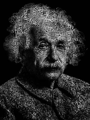 Einstein Digital Art - Albert Einstein Text Portrait - Typographic Face Poster With The Published Scientific Article Names by Jose Elias - Sofia Pereira
