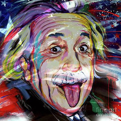 Planet System Painting - Albert Einstein Usa Flag by Gull G