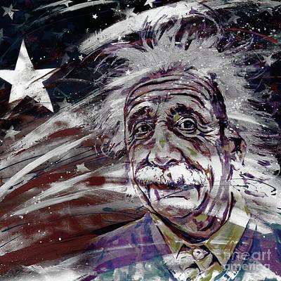 Albert Einstein Usa Art Print by Gull G