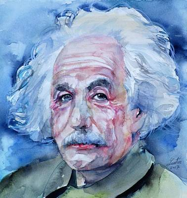 Painting - Albert Einstein - Watercolor Portrait.10 by Fabrizio Cassetta