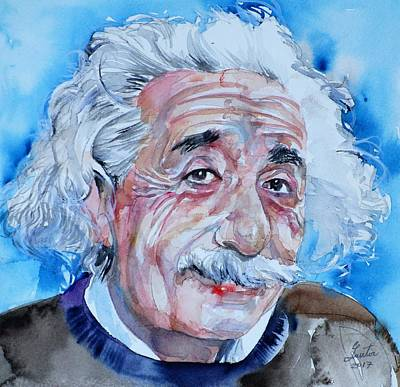 Painting - Albert Einstein - Watercolor Portrait.11 by Fabrizio Cassetta