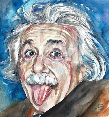 Painting - Albert Einstein - Watercolor Portrait.12 by Fabrizio Cassetta