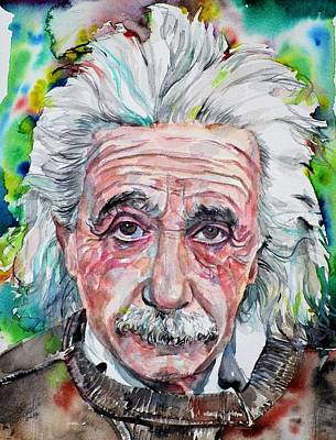 Painting - Albert Einstein - Watercolor Portrait.13 by Fabrizio Cassetta