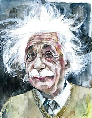 Painting - Albert Einstein - Watercolor Portrait.15 by Fabrizio Cassetta