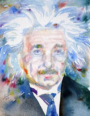 Albert Einstein Painting - Albert Einstein - Watercolor Portrait.8 by Fabrizio Cassetta