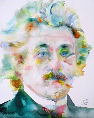 Albert Einstein Painting - Albert Einstein - Watercolor Portrait.9 by Fabrizio Cassetta