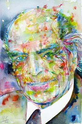 Albert Hofmann - Watercolor Portrait Art Print by Fabrizio Cassetta