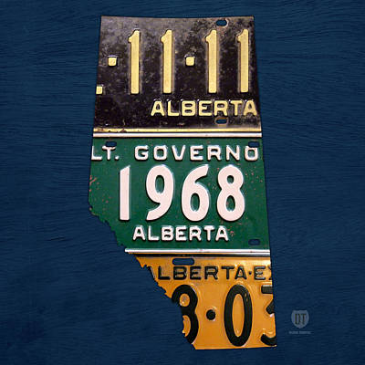 Alberta Canada Province Map Made From Recycled Vintage License Plates Art Print