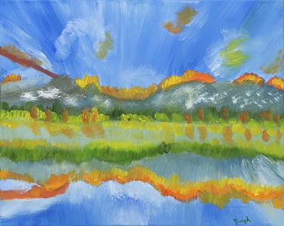 Painting - Alberta Canada's Fiery Reflections by Meryl Goudey