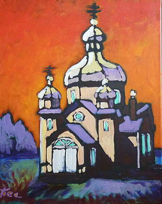 Onion Domes Painting - Alberta Church by Tea Preville
