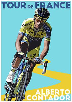 Giro Digital Art - Alberto Contador by Semih Yurdabak