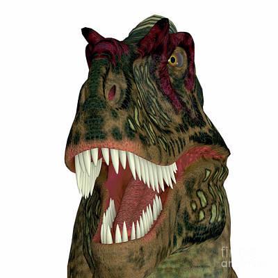 Albertosaurus Painting - Albertosaurus Dinosaur Head by Corey Ford