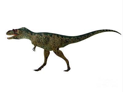 Albertosaurus Painting - Albertosaurus Dinosaur Side Profile by Corey Ford