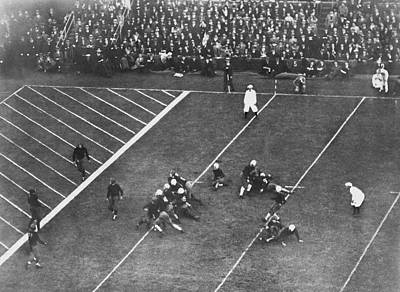 Soldier Field Photograph - Albie Booth Kick Beats Harvard by Underwood Archives
