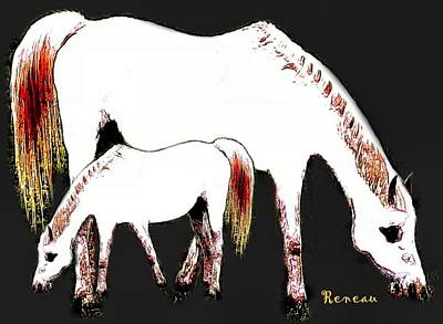 Photograph - Albino Mare And Colt by Sadie Reneau