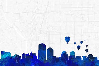 Albuquerque Digital Art - Albuquerque Cityscape And Streetmap Blue Skyline by Jurq Studio