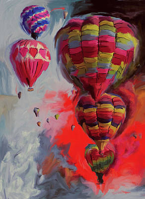 Fiesta Painting - Albuquerque International Balloon Fiesta 4 255 2 by Mawra Tahreem