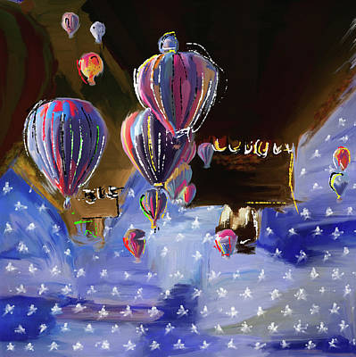 Fiesta Painting - Albuquerque International Balloon Fiesta 5 256 1 by Mawra Tahreem