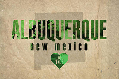 Love Mixed Media - Albuquerque New Mexico City Love Established 1706 Series 005 by Design Turnpike