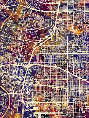 Mexico Digital Art - Albuquerque New Mexico City Street Map by Michael Tompsett