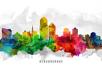 Albuquerque New Mexico Painting - Albuquerque New Mexico Cityscape 12 by Aged Pixel