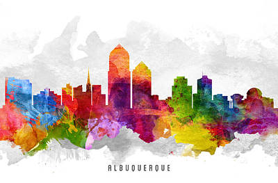 Albuquerque New Mexico Cityscape 13 Art Print by Aged Pixel