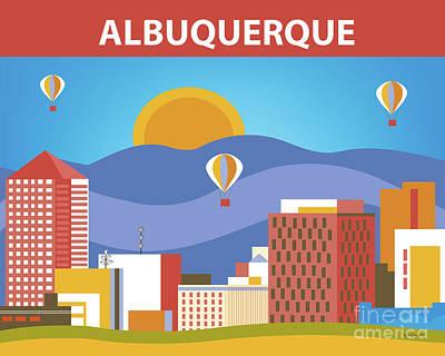 Albuquerque New Mexico Horizontal Skyline Art Print