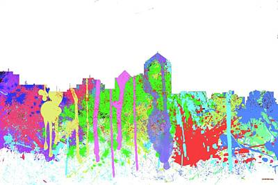 Digital Art - Albuquerque New Mexico Skyline-splish by Marlene Watson