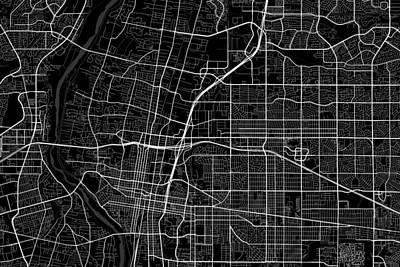 Albuquerque Digital Art - Albuquerque New Mexico Usa Dark Map by Jurq Studio