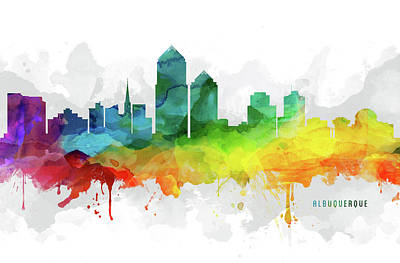 Albuquerque New Mexico Digital Art - Albuquerque Skyline Mmr-usnmal05 by Aged Pixel