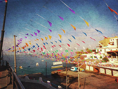 Photograph - Alcala Harbour With Flags by Anne Kotan