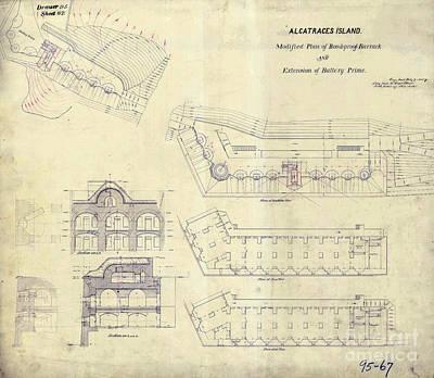 Alcatraz Photograph -  Alcatraz  Bomb Proof Barracks Drawing 1865   by Jon Neidert